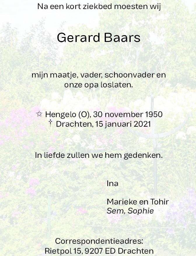 Rouwadvertentie Gerard Baars